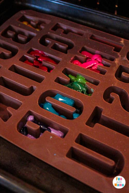 melting crayons in mold