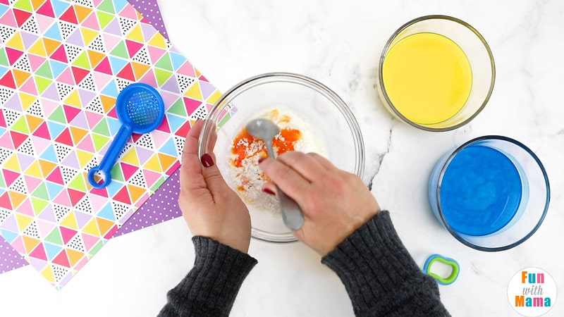stirring ingredients to make oobleck