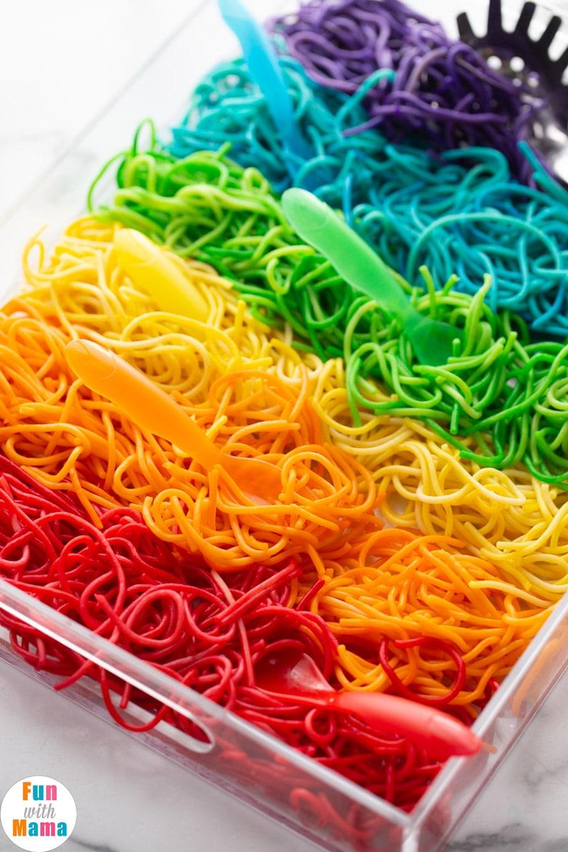 rainbow spaghetti activity