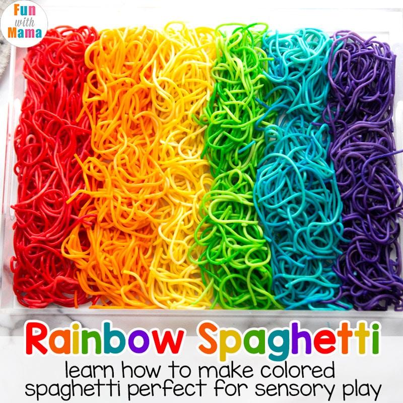 rainbow spaghetti sensory activity