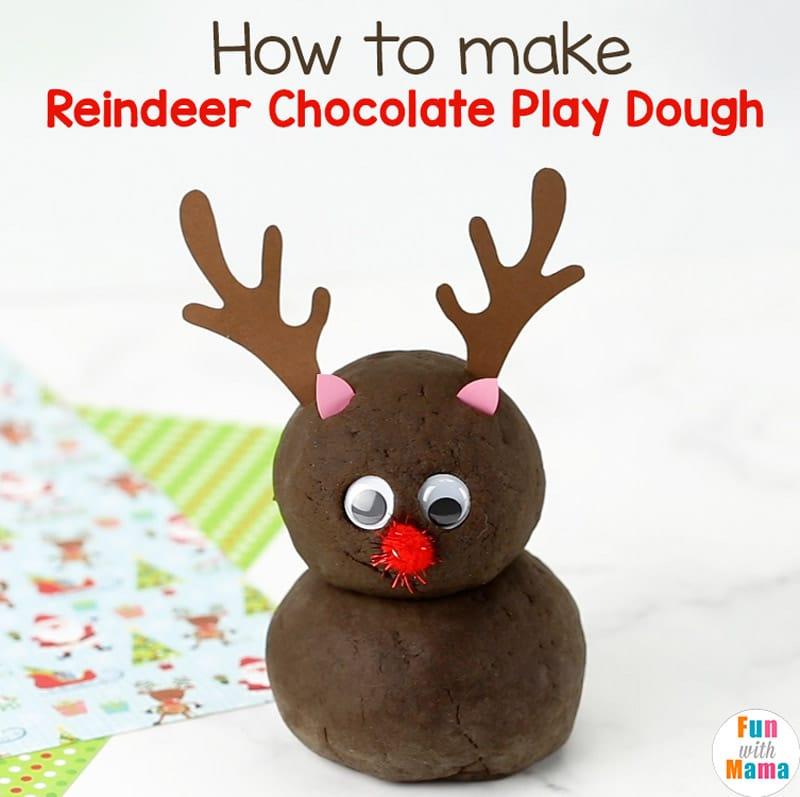 how to make a reindeer chocolate playdough recipe
