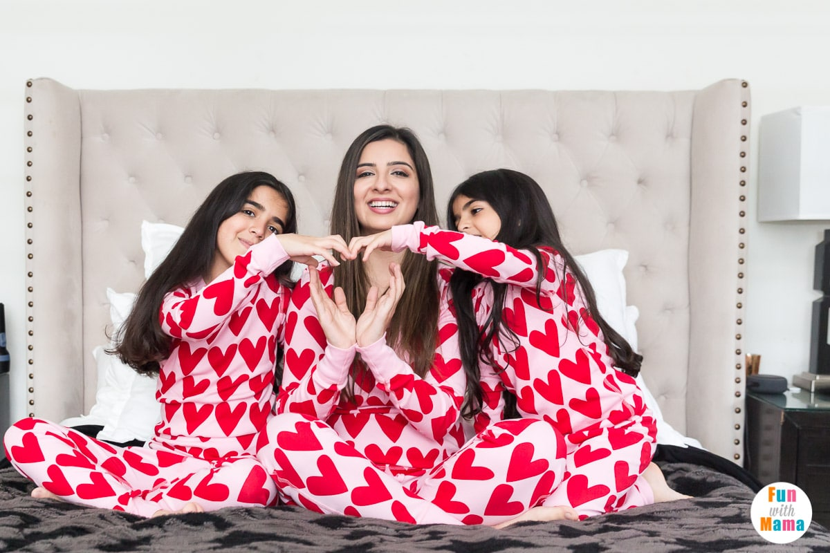 girl pajamas for Valentine's Day
