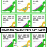 Adorable Printable Dinosaur Valentine Cards