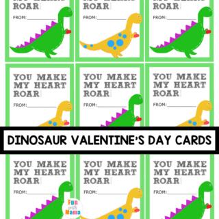 Adorable Dinosaur Valentine Cards